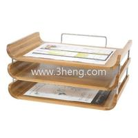 Natural Bamboo Desktop Organizer With Triple Tray