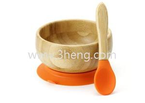Toddler / Infant Bamboo Stay Put Suction / Spill Proof Baby Feeding Bowl w/ Spoon . The Perfect Baby