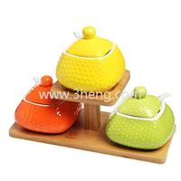 Modern Bamboo Tray Set of 3 Yellow Orange Green Lidded Condiment Jars / Spice Serving Pots / Spoons