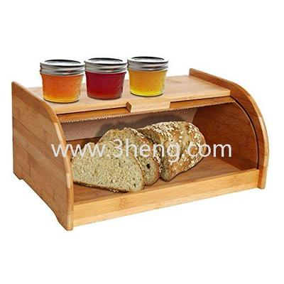 Exquisite Bamboo Sliding Lid Rolltop Bread Box With Storage Bin