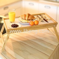 Bamboo bed tray with foldable legs and easy to clean white base
