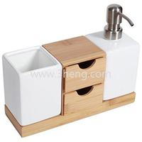 NewDesign Bamboo Bath Accessories,Countertop Organizer And Soap Pump Set
