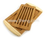 Bamboo Collection 2-Tone Reversible Cutting Board with Removable Magnetic Insert