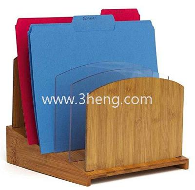 Bamboo File Folder Organizer with Acrylic Dividers
