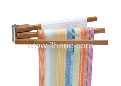 Hot Selling Housewares Wall-Mounted 3-Arm Bamboo Towel Bar