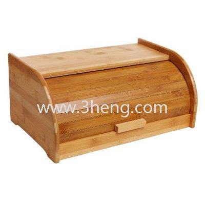 Exquisite Bamboo Sliding Lid Rolltop Bread Box / Storage Bin