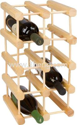 Square Shape Bamboo Wine Rack With Holds 12 Bottles