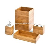 Bamboo hotel bathroom/bath accessories with toothbrush and lotion can