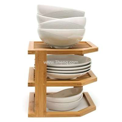 Bamboo 3-Tier Corner Shelf with bowl holder